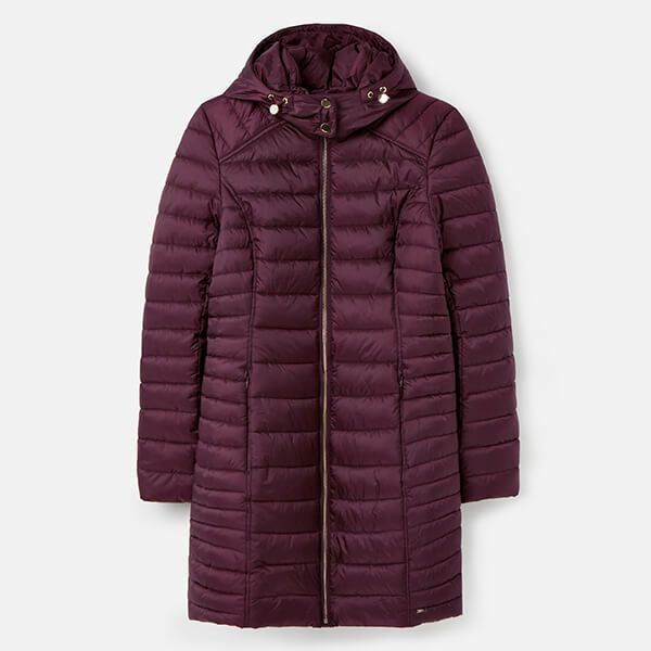 Joules Plum Canterbury Long Luxe Padded Jacket Size 8