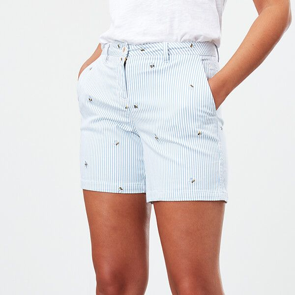 Joules Blue Bee Stripe Mid Length Chino Shorts