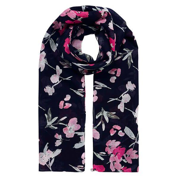Joules Navy Pink Floral Julianne Wool Scarf