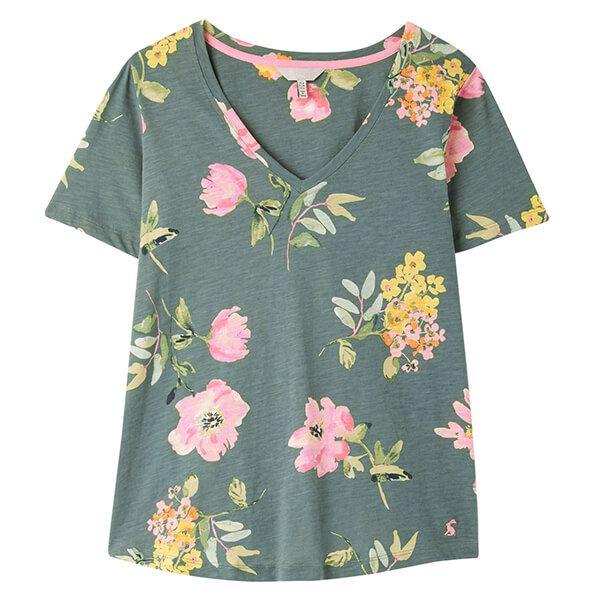 Joules Green Floral Celina Print V Neck T-Shirt Size 16