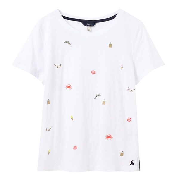 Joules Bright White Seaside Carley Print Classic Crew T-Shirt
