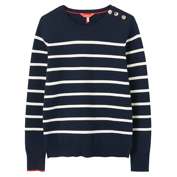 Joules Navy Stripe Portlow Jumper with Button Shoulder