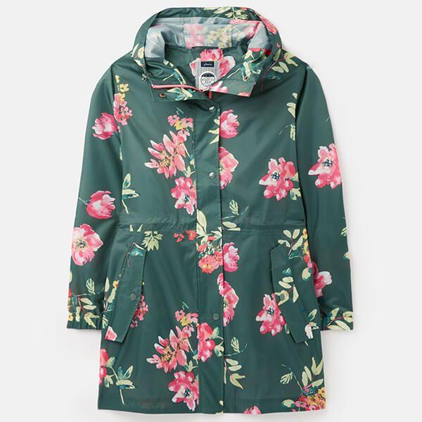 Joules Floral Green Printed Waterproof Packaway Jacket