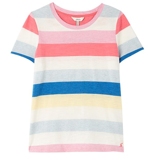 Joules Cream Stripe Carley Stripe Classic Crew T-Shirt
