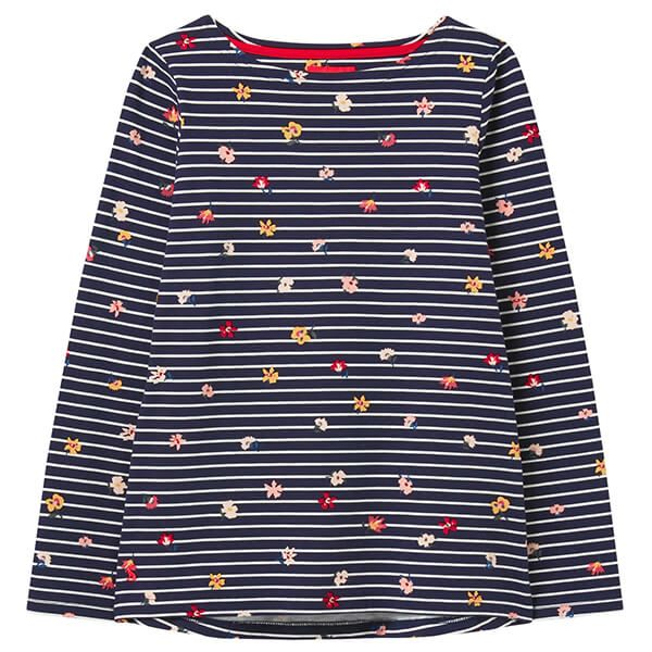 Joules Navy Stripe Floral Harbour Print Long Sleeve Jersey Top