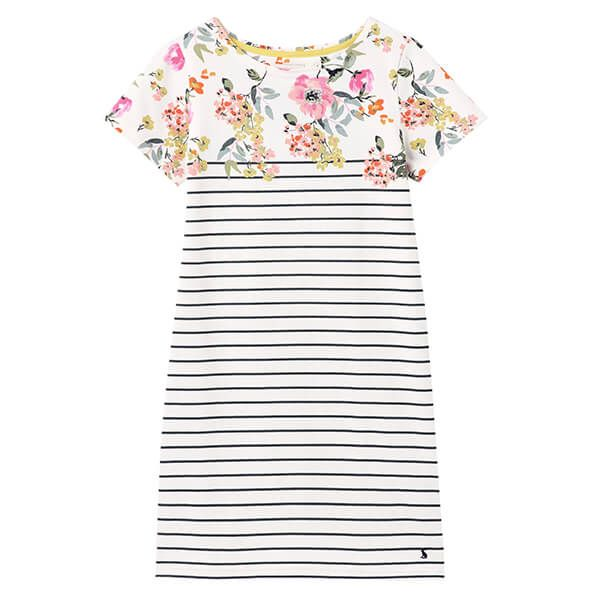 Joules Cream Green Floral Riviera Printed Dress with Short Sleeves