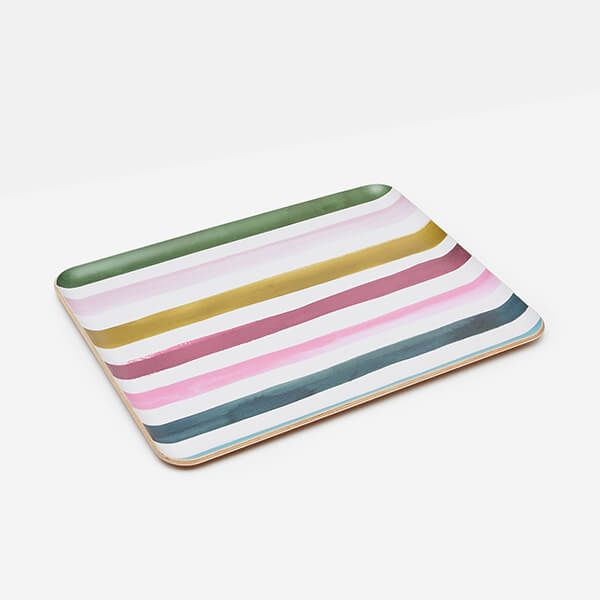Joules Multi Stripe Large Tray Willow Wood 36cm x 28cm