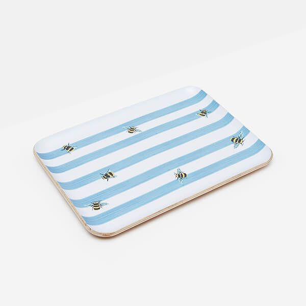 Joules Bee Stripe Small Tray Willow Wood 27cm x 20cm