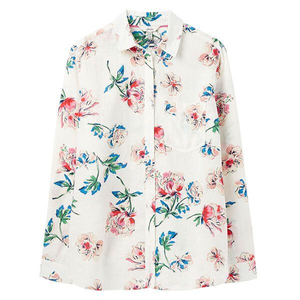 Joules Chalk Floral Lorena Linen Longline Linen Shirt