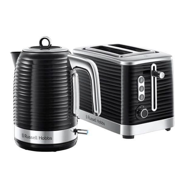 Russell Hobbs Inspire Kettle & 2 Slice Toaster Set Black