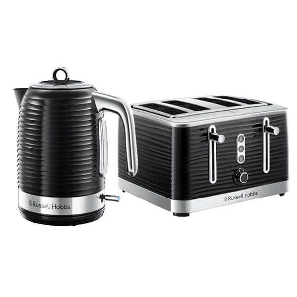 Russell Hobbs Inspire Kettle & 4 Slice Toaster Set Black