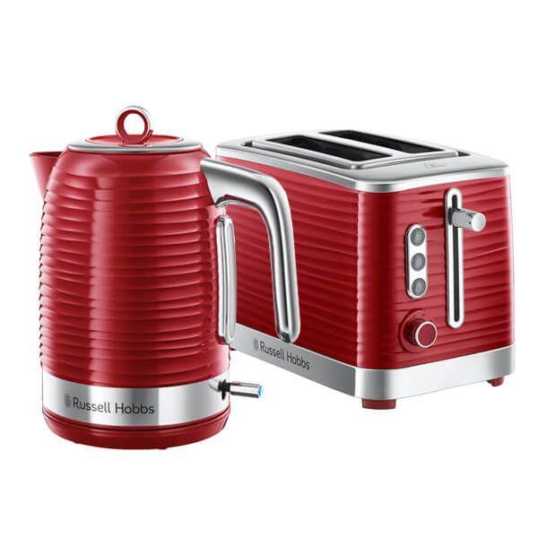 Russell Hobbs Inspire Kettle & 2 Slice Toaster Set Red
