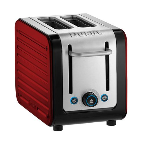 Dualit Architect 2 Slot Black Body With Apple Candy Red Panel Toaster