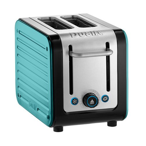 Dualit Architect 2 Slot Black Body With Azure Blue Panel Toaster