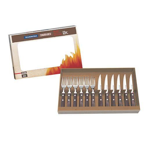 Tramontina Churrasco 12 Piece BBQ Steak Knife & Fork Set, Brown Wood