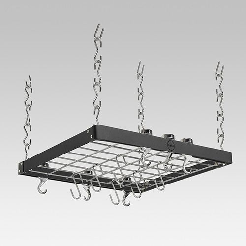 Hahn Black / Chrome Metal Square Ceiling Rack