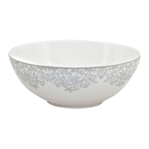 Denby Monsoon Filigree Silver Cereal Bowl