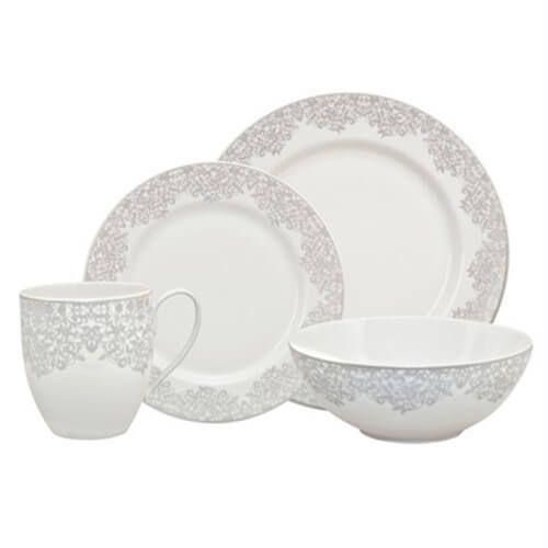 Denby Monsoon Filigree Silver 16 Piece Tableware Set