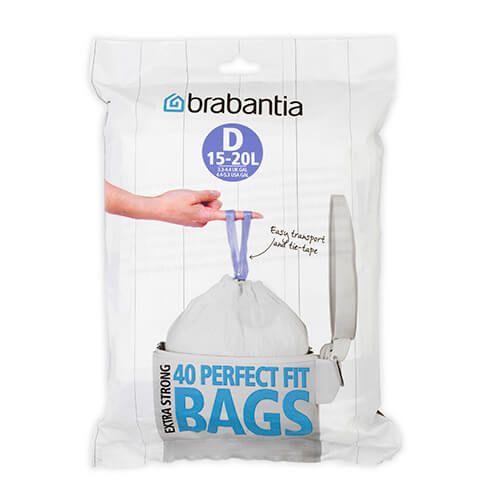 Brabantia Perfectfit Bags Size D 15 Litre 40 Bag Dispenser Pack