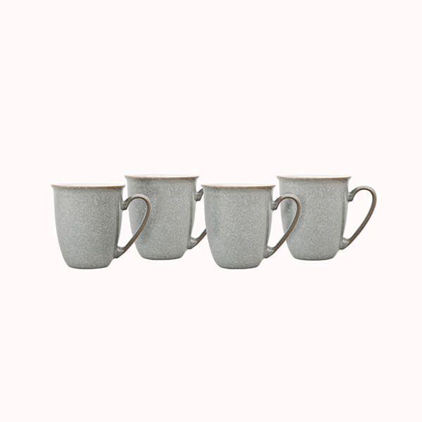 Denby Elements Light Grey Set Of 4 Coffee Mugs