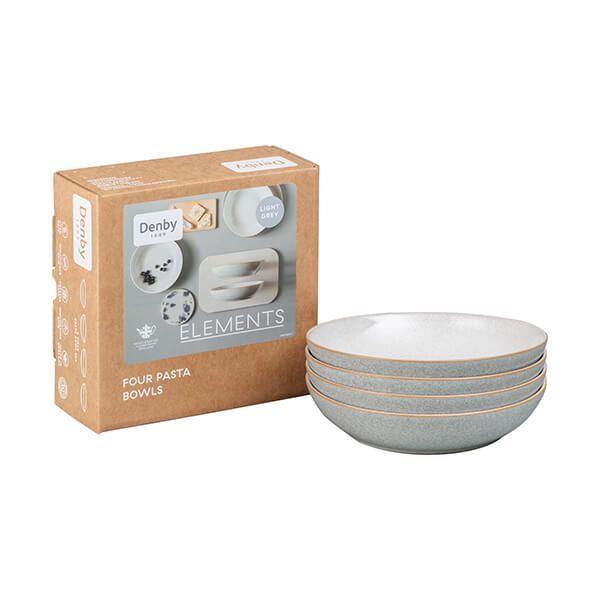 Denby Elements Light Grey Set Of 4 Pasta Bowls