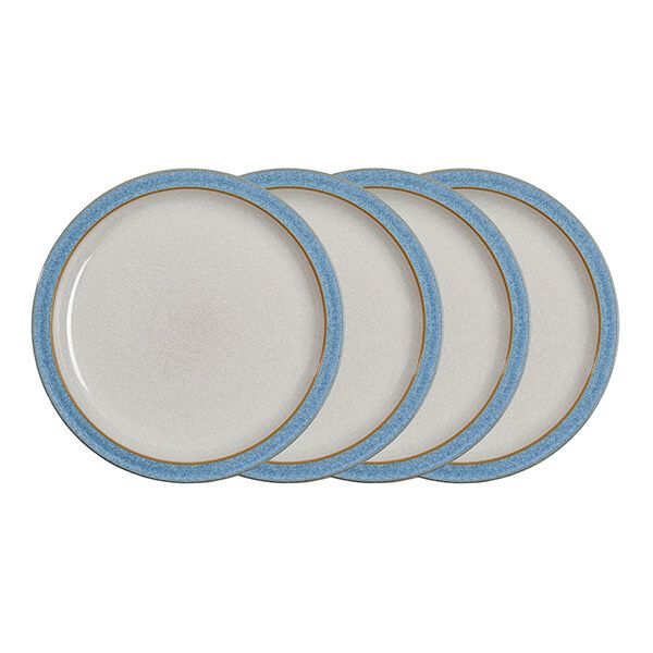 Denby Elements Blue Set Of 4 Dinner Plates