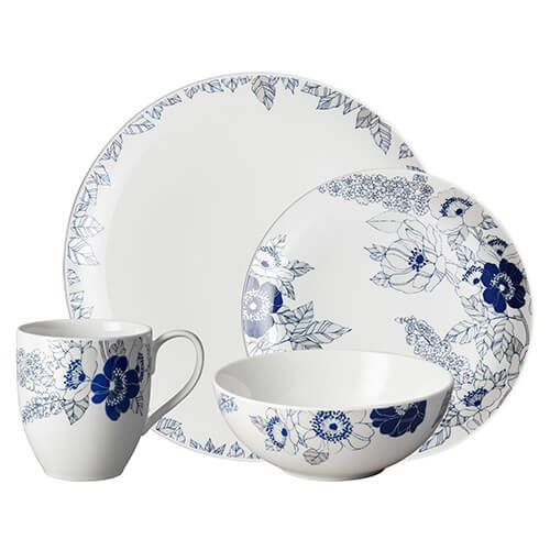 Denby Monsoon Fleur 16 Piece Tableware Set