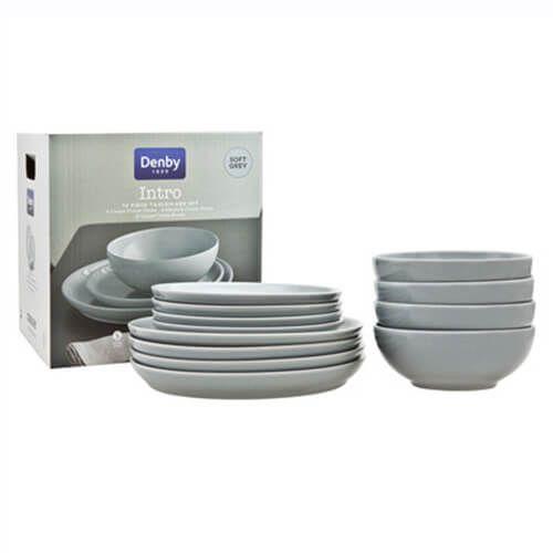 Denby Intro Soft Grey 12 Piece Tableware Set