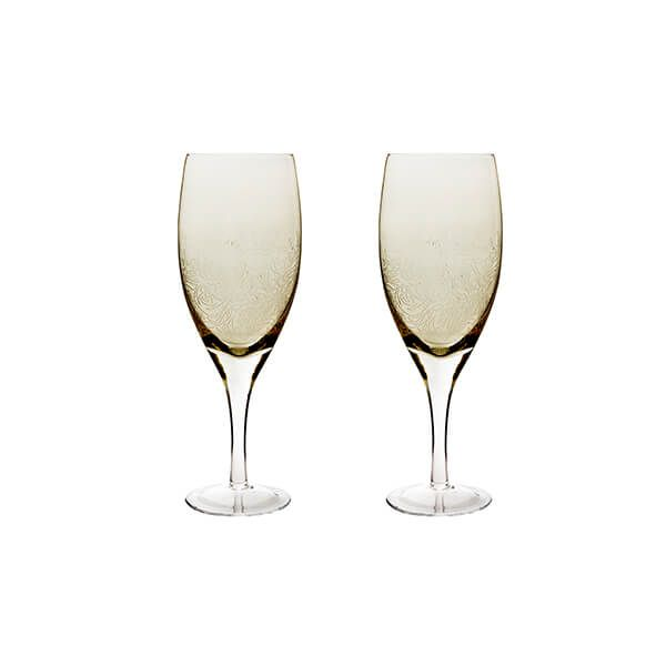 Denby Monsoon Lucille Gold Set Of 2 Red Wine Glasses
