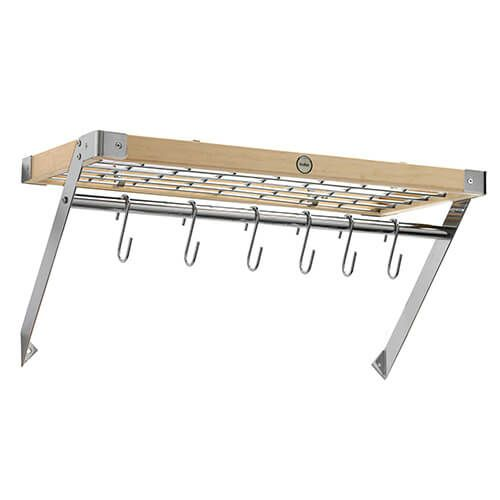 Hahn Natural Wood & Chrome Wall Rack