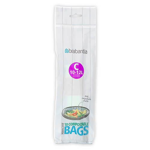 Brabantia Compostable Perfectfit Bags Size C 10 12 Litre 10 Bag Roll