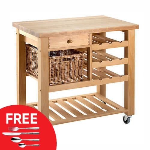 Eddingtons Lambourn Valley Wine Rack & One Drawer Kitchen Trolley with FREE Gift