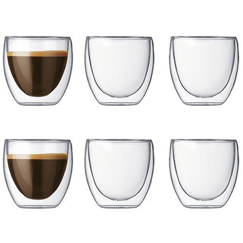 Bodum Pavina Double Wall Glass 0.08L / 2.5oz Set Of 6