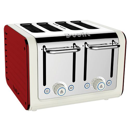 Dualit Architect 4 Slot Canvas Body With Apple Candy Red Panel Toaster