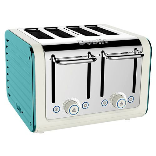 Dualit Architect 4 Slot Canvas Body With Azure Blue Panel Toaster