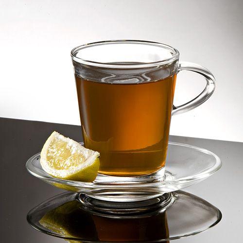 Eddingtons Glass Tall Cup and Saucer Set Of 2
