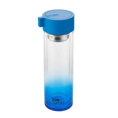 Joe Wicks Crystal Glass Water Bottle Blue 350ml