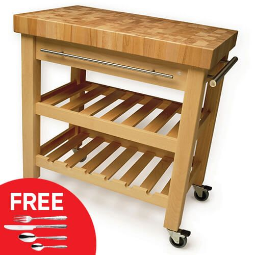 Eddingtons The Leverton Solid Beech Kitchen Trolley with FREE Gift