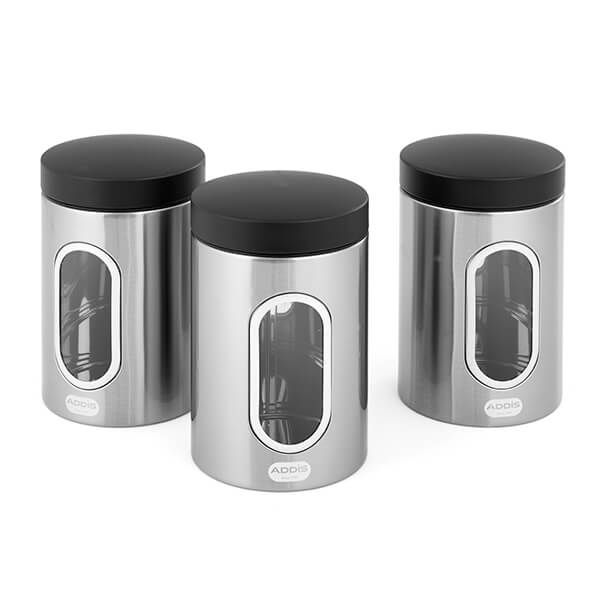 Addis Stainless Steel 3 Piece Canister Set