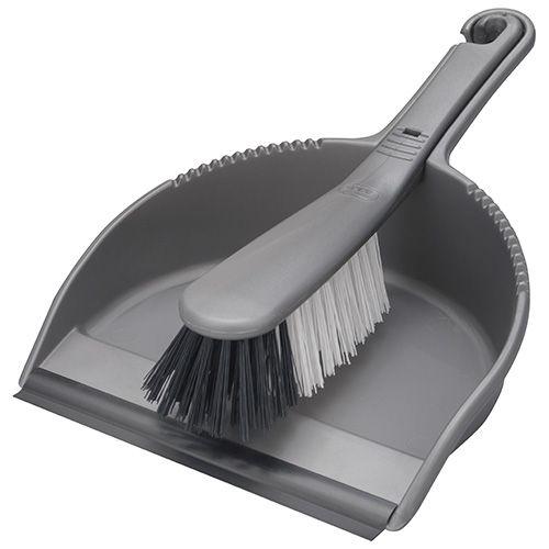 Addis Stiff Bristle Dustpan Set Metallic