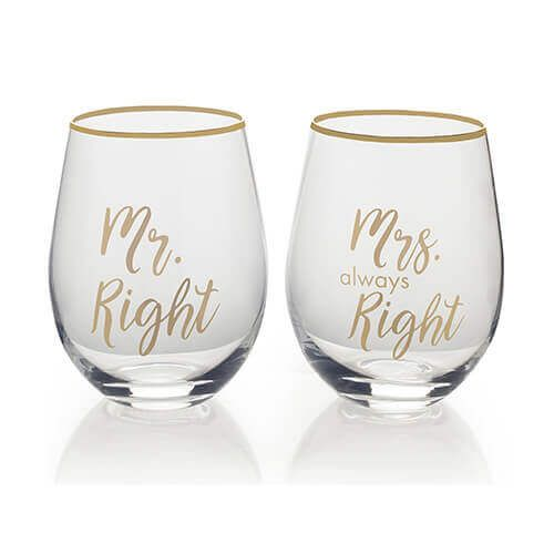 Mikasa Mr Right & Mrs Always Right Set Of 2 Stemless Wine Glasses