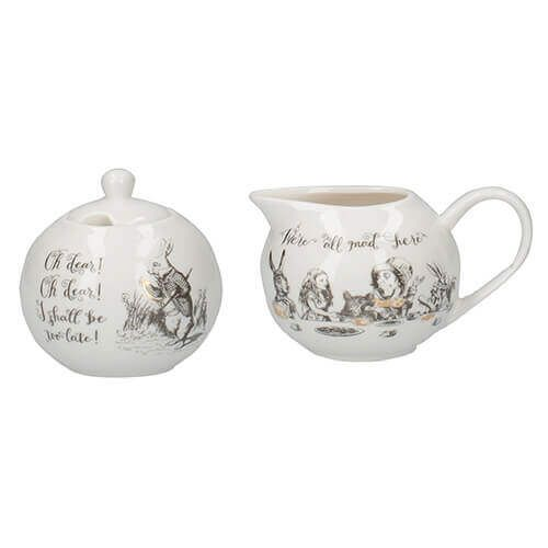 Alice In Wonderland Sugar Bowl & Creamer