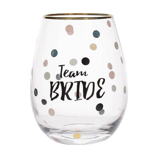 Ava & I Team Bride Stemless Wine Glass