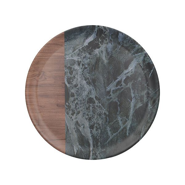 Creative Tops Green Marble Wood Mix Round Matte Tray