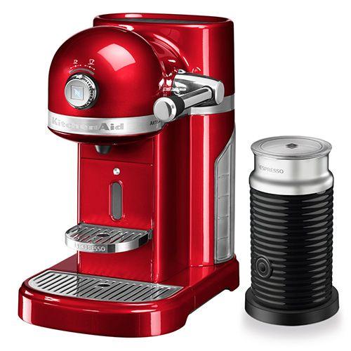 KitchenAid Artisan Nespresso Candy Apple Coffee Maker & Aeroccino 3
