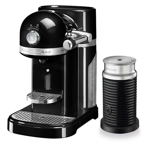 KitchenAid Artisan Nespresso Onyx Black Coffee Maker & Aeroccino 3