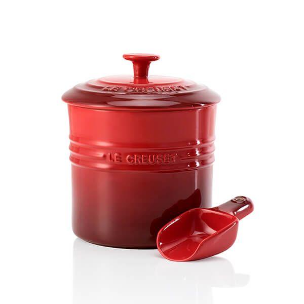 Le Creuset Cerise Stoneware Pet Food Container & Scoop