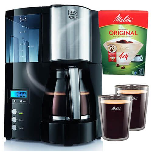 Melitta Optima Timer Black Filter Coffee Machine With FREE Gifts