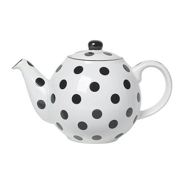 London Pottery Globe 2 Cup Teapot White With Black Spots