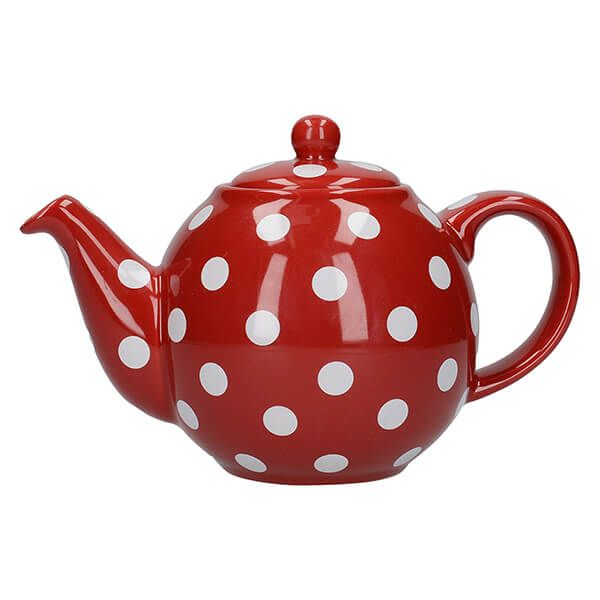 London Pottery Globe 4 Cup Teapot Red With White Spots